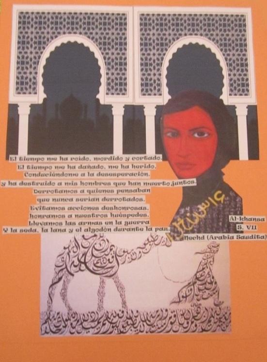 Collage de Mª Jesús Mandianes sobre una poesía de Al-khansa