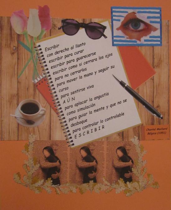 """Collage de Mª Jesús Mandianes sobre el poema """"Escribir"""" de Chantal Maillard"""