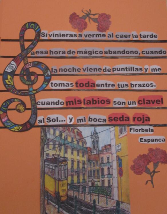 Collage de Mª Jesús Mandianes sobre un poema de Florbela Espanca