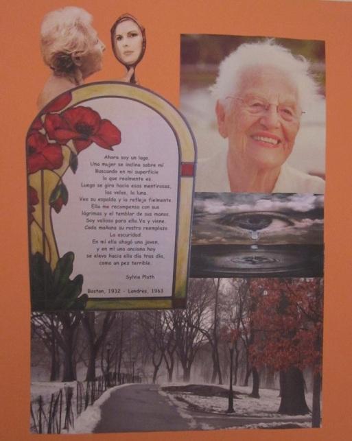 Collage de Mª Jesús Mandianes sobre un poema de Sylvia Plath
