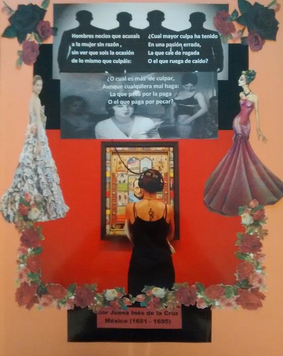 Collage de Mª Jesús Mandianes   sobre un poema de Juana Ines de la Cruz